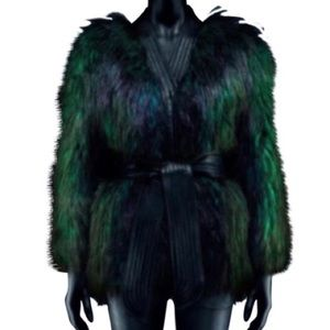 Balmain x  h&m green faux fur coat