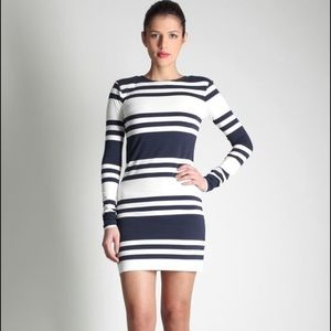 French Connection Jag Stripe Long Sleeve Dress 0