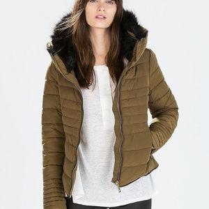Zara Quilted Olive Anorak Puffer Coat Black Fur S