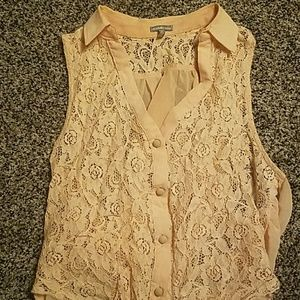 Button up lace tank top
