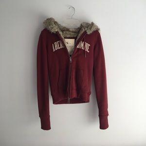 Abercrombie burgundy fur hoodie