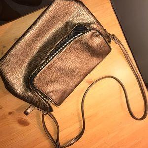 gold h&m shoulder purse
