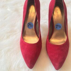 NWOT✨BCBG✨ Red Suede Pointed Toe Pump Heel