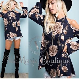 Navy Floral Gorgeous Fall Cold Shoulder Top Blouse