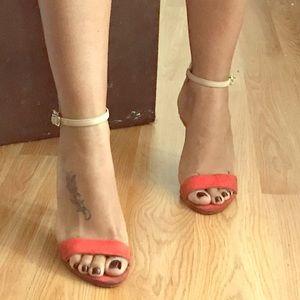 Zara orange and gold ankle tied heels