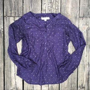 LOFT XS Petite Purple Half Button Down Top