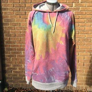 ASOS L rainbow tie-dye hooded pullover sweatshirt