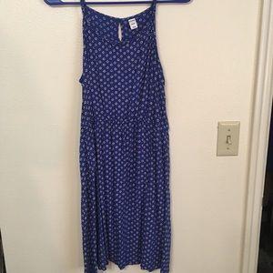 Blue polka dot slip dress