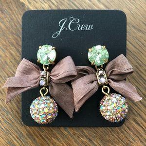 NWT J. Crew Crystal Drop/Bow Earrings