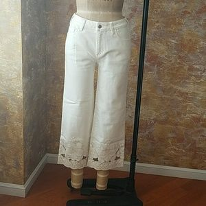 Anthropologie Embroidered Wide Leg Denim