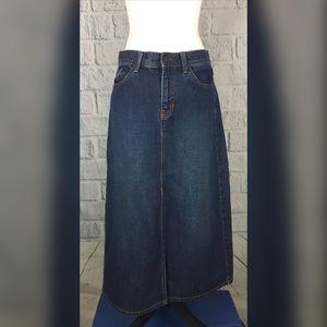 GAP long Flared dark wash denim skirt