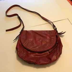 Red Stud-Detail Nine West Shoulder Bag