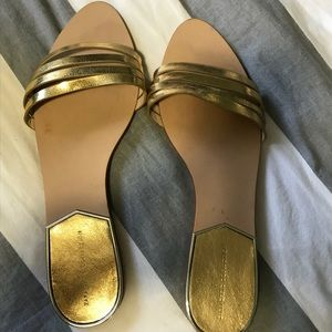 Zara Gold slip on sandals