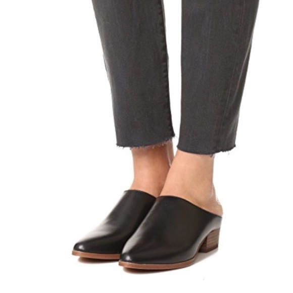 Madewell Barlow Black Leather Mules