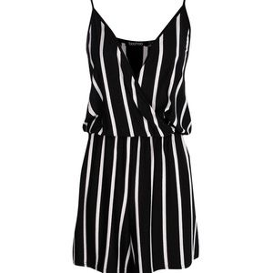 Boho Wrap Over Cami Striped Playsuit Romper NWT