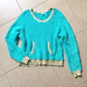 Juicy Couture turquoise & gold fuzzy sweater