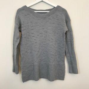 Lou & Grey Gray Side Slit Crewneck Sweater
