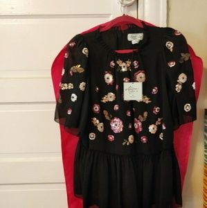 Kate Spade Madison Avenue Sequin Flower Top NWT