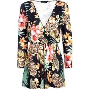 Boho Wrap Long Sleeve Playsuit Ladies Romper New