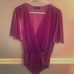 Zara top. Bodysuit. Velvet.