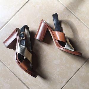 Sam Edelman block heel three tone leather sandals
