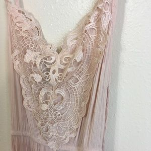Rose colored, maxi dress w/ lace accent.