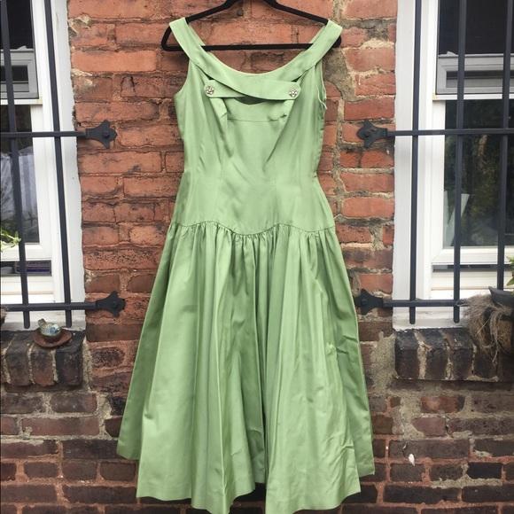 Vintage Dresses 1950s Sage Green Cocktail Dress Poshmark