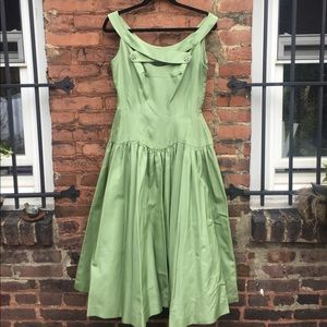 1950s sage green cocktail dress