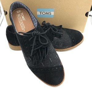 TOMS Black Suede/Wool Brogues Kilties