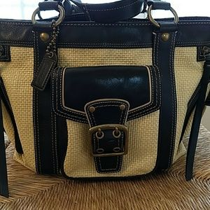 Coach Purse Brown Leather and Straw