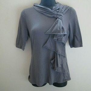 Deletta Anthropologie Gray Ruffled Knit Top