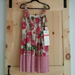 Nine west floral and striped dress size 8