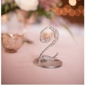 other wooden table numbers sparkly silver glitter