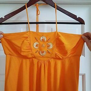 Milly orange beaded top halter dress