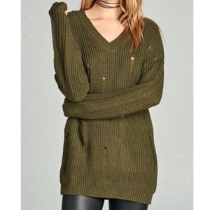 Sweaters - V Neck Olive Sweater