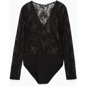 Zara Long Sleeve Lace Bodysuit S