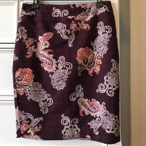 Ann Taylor Pencil Skirt Paisley Print Size 6