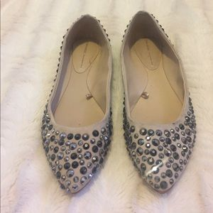 Zara Nude Pointed Flats with Gray Rhinestones