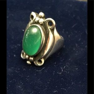Jewelry - Unique Sterling Silver Ring with Green Stone