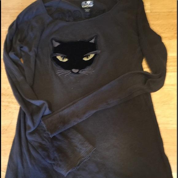 8f8ab2386 Lucky Brand Tops - Lucky Brand Pussy Cat Club TShirt- Black Cat - fun