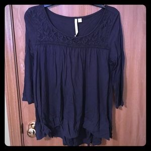 Lauren Conrad M Navy blouse