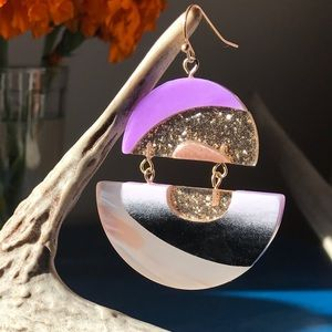 Anthro Lucite Equator Drop Earrings