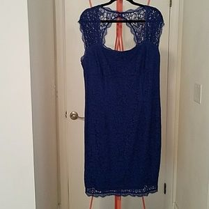Adrianna Papell Navy Blue Lace Coctail Dress 18w