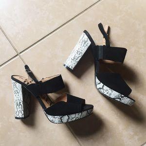 Kelsi Dagger black suede reptile block heels
