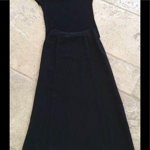 Tahari Elegant Black Aline Skirt & Sheer Top