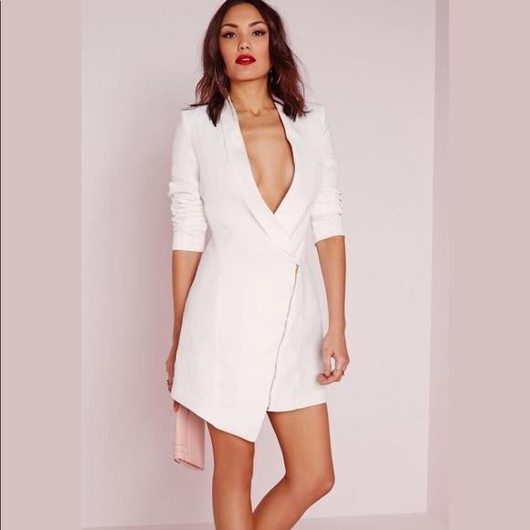 e9129f9924e2 Missguided Jackets & Coats | Midi White Blazer Dress | Poshmark
