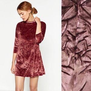 Zara Mauve 3/4 Sleeve Crushed Velvet Tunic Size S