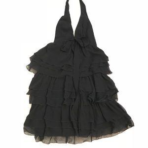 Zara black tiered-ruffle hater dress LBD