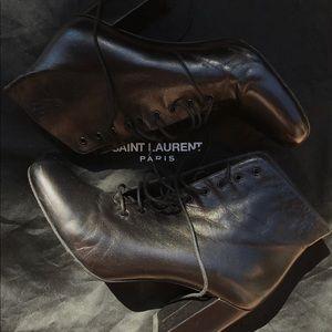 Yves Saint Laurent ankle lace up boots