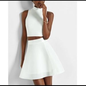 Express ivory highwaisted bonded mesh flare skirt